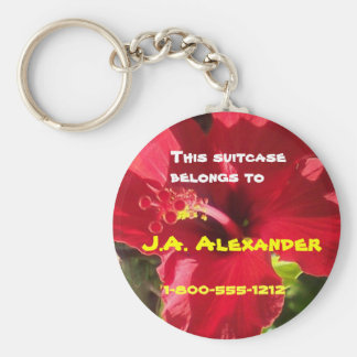 Hibiscus Bag Tags Basic Round Button Keychain