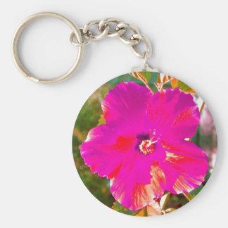 Hibiscus Basic Round Button Keychain