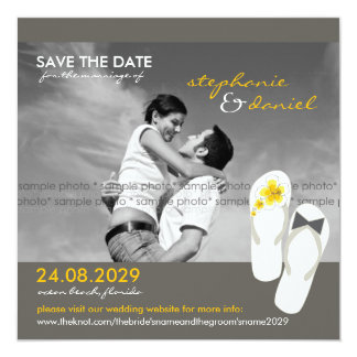 Hibiscus Beach Wedding Flip Flops Save The Date Card