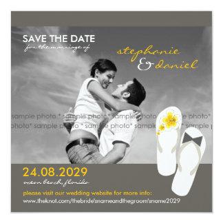 Hibiscus Beach Wedding Flip Flops Save The Date 5.25x5.25 Square Paper Invitation Card