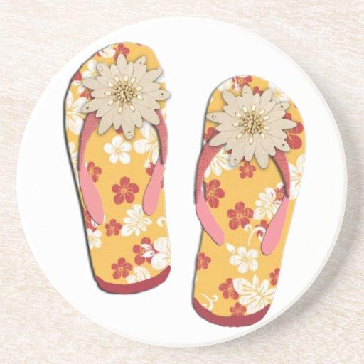Hibiscus Beaded Flip Flops Coasters