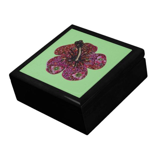 Hibiscus Beads Mosaic Jewelry Keepsake Box