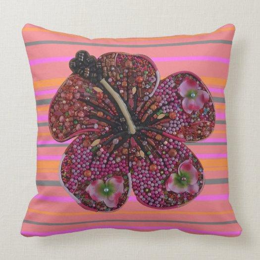 Hibiscus Beads Mosaic Throw Pillow