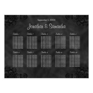 Hibiscus Black 10 Tables Wedding Seating Chart
