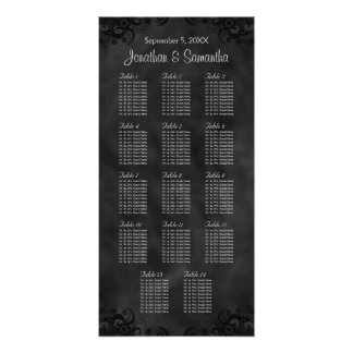 Hibiscus Black 14 Tables Wedding Seating Chart