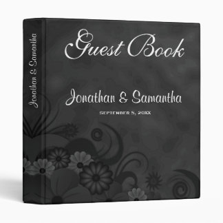 "Hibiscus Black Floral 1"" Wedding Guest Book Binder"