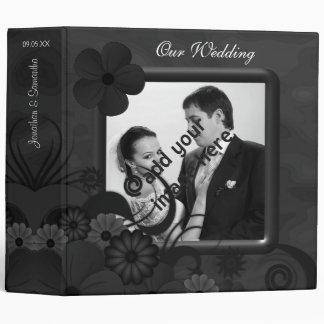 "Hibiscus Black Floral 2"" Wedding Guest Book Album Vinyl Binders"