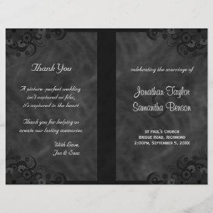 Hibiscus Black Fl Goth Folded Wedding Programs
