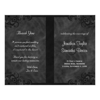 Hibiscus Black Floral Goth Folded Wedding Programs