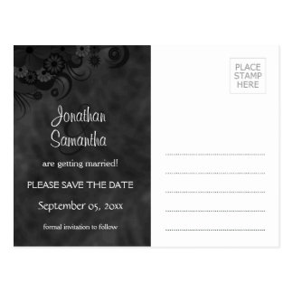 Hibiscus Black Floral Goth Save The Date Postcards