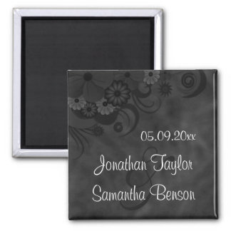 Hibiscus Black Floral Save The Date Fridge Magnets