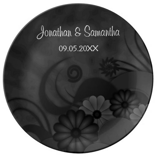Hibiscus Black Floral Wedding 10.75 Ceramic Plate