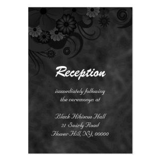 Hibiscus Black Floral Wedding Reception Enclosure Business Card