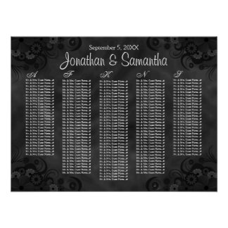 Hibiscus Black Floral Wedding Table Seating Charts