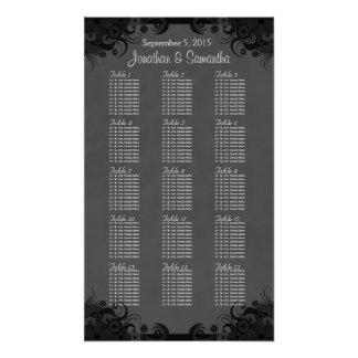 Hibiscus Black Goth 15 Wedding Table Seating Chart Print