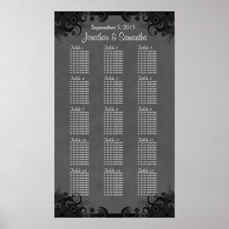 Hibiscus Black Goth 15 Wedding Table Seating Chart Print