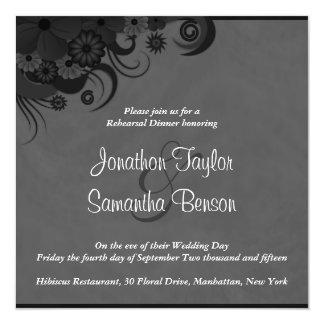 Hibiscus Black Wedding Rehearsal Dinner Invites
