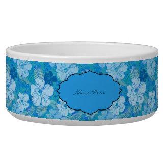 Hibiscus Blue Batik Dog Water Bowls