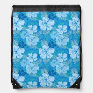 Hibiscus Blue Batik Cinch Bags