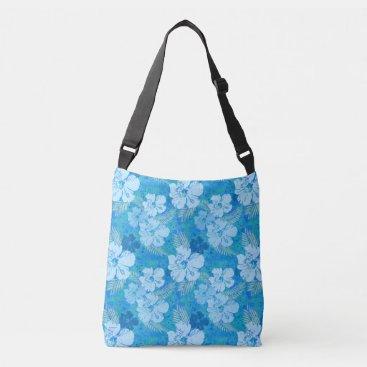linda_mn Hibiscus Blue Flowers Crossbody Bag