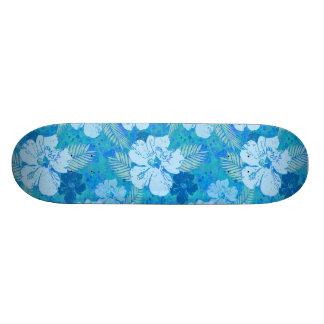 Hibiscus Blue Flowers Skateboard Deck