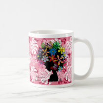 butterfly, flowers, girl, afro, diva, music, illustration, cute, pop, female, street, cool, luv, love, feminine, funny, lovely, kawaii, graphic, design, lady, stylish, colorful, hibiscus, pink, surfer, surfing, beach, hawaii, tropical, plant, Caneca com design gráfico personalizado