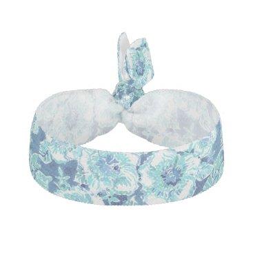 Beach Themed HIBISCUS BOUNTY Blue Tropical Hawaiian Floral Hair Tie