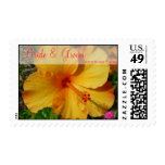 Hibiscus - Bride & Groom Names Postage Stamps