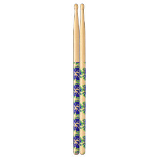 """Hibiscus Brights"" Neon Lime Green/Blue Drumsticks"