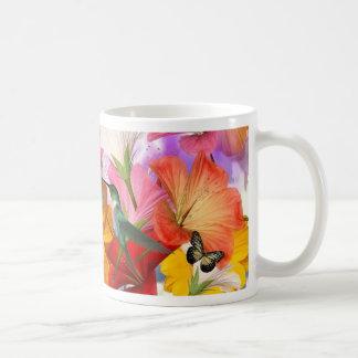 Hibiscus Butterflies Basic White Mug