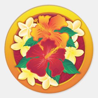 Hibiscus Button Classic Round Sticker