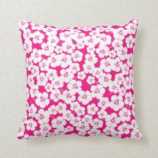 hibiscus cerise and white cute girly throw pillow