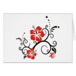 Hibiscus Decor in black & red Greeting Card