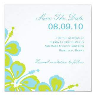 """Hibiscus Delight, Save The Date, 08.09.10, For ... 5.25"""" Square Invitation Card"""