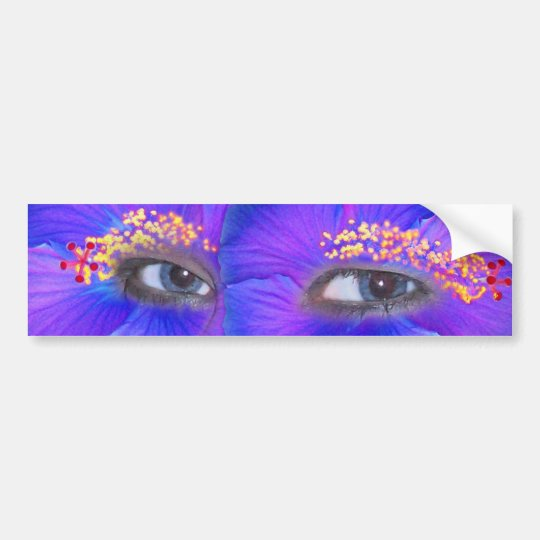 Hibiscus Eyes - Blue Bumper Sticker