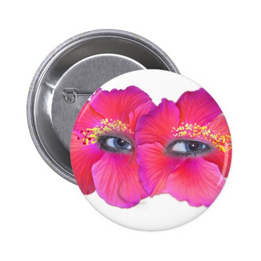 Hibiscus Eyes - Pink Button