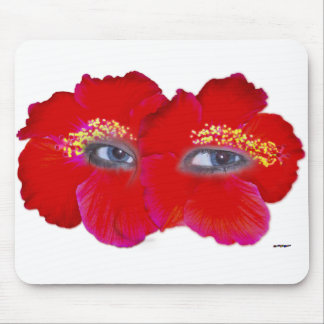 Hibiscus Face  - Red Mouse Pad