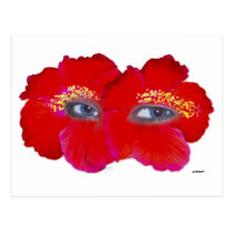 Hibiscus Face  - Red Postcard