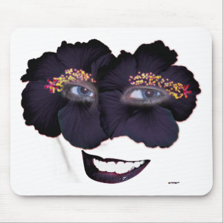 Hibiscus Face with Smile - Black/Purple Mouse Pad