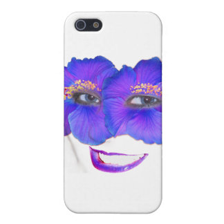 Hibiscus Face with Smile - Blue Cover For iPhone SE/5/5s
