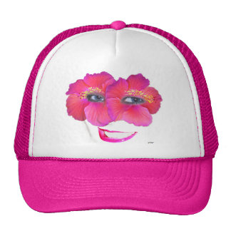 Hibiscus Face with Smile - Pink Trucker Hat
