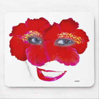 Hibiscus Face with Smile - Red Mouse Pad