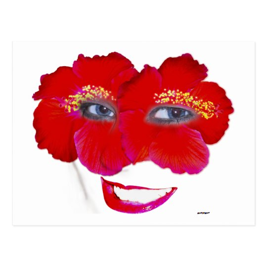 Hibiscus Face with Smile - Red Postcard