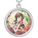 Hibiscus Fairy and Calico Cat Necklace