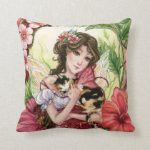 Hibiscus Fairy & calico cat fantasy art Pillow