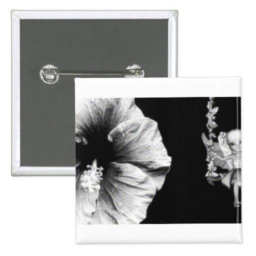 Hibiscus & Fairy On Flower Swing B&W Halftone Pinback Button
