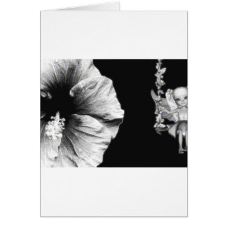 Hibiscus & Fairy On Flower Swing B&W Halftone Card