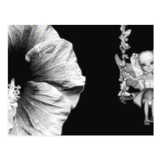 Hibiscus & Fairy On Flower Swing B&W Halftone Postcard