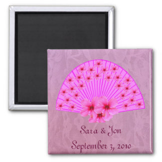 Hibiscus Fan on Pink Lace 2 Inch Square Magnet