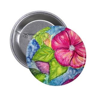 Hibiscus Fantasy Watercolor Button